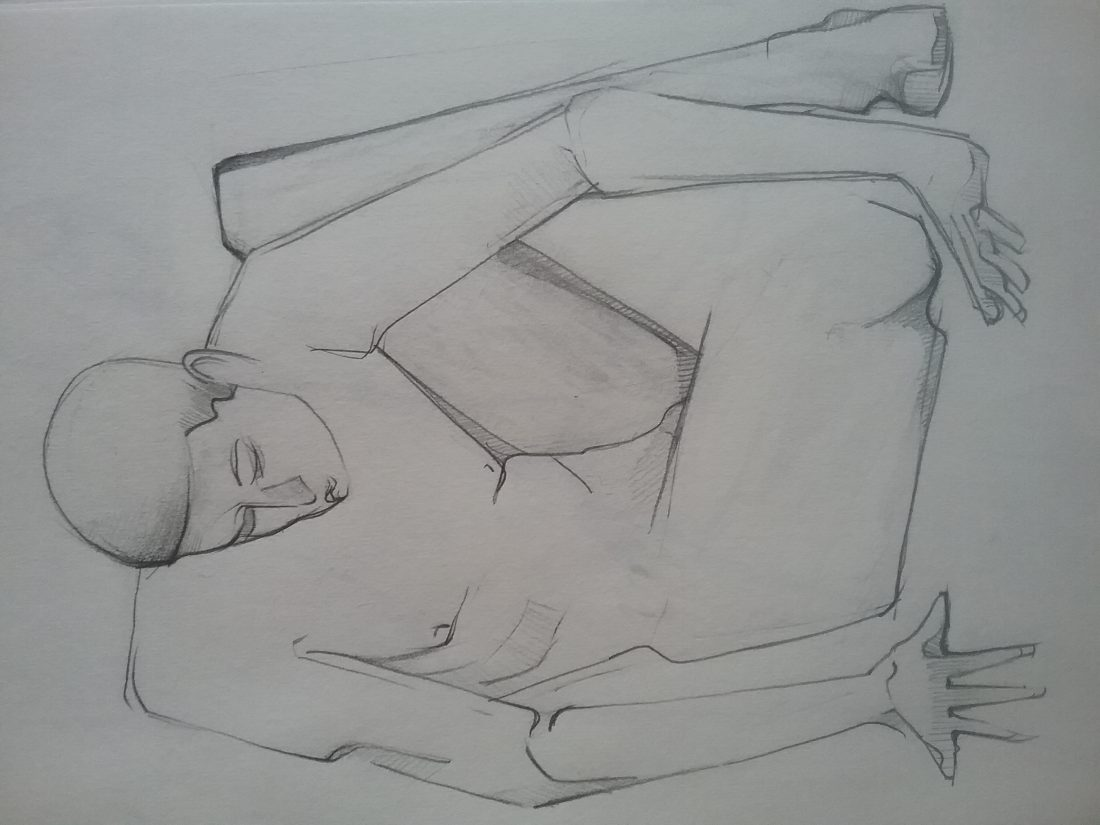 Sketch lifedrawing nude figure
