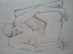 Sketch lifedrawing nude figure