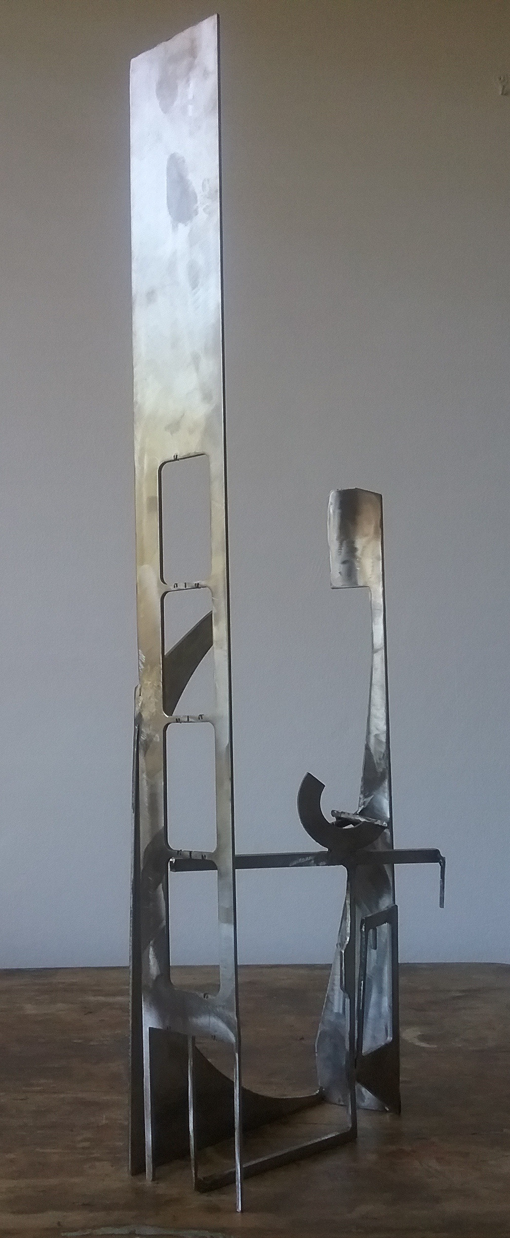 Paul bacon sculpture landscape figure steel stainless abstract impressioism