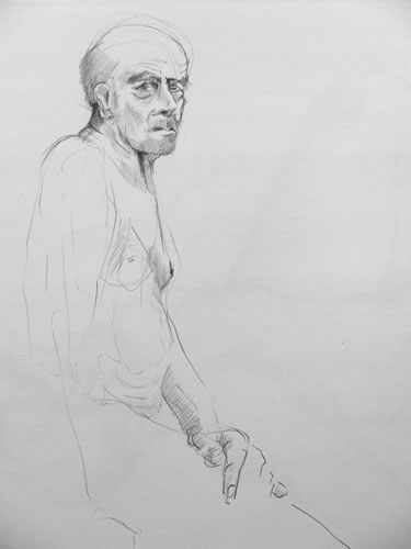 Paul Bacon Drawing Pencil on Paper 024 head of a man
