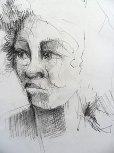 Paul Bacon Pencil on Paper Drawing 025 head of a girl