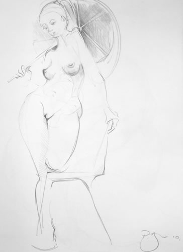 Paul Bacon Pencil on Paper Drawing 012 female nude with umbrella
