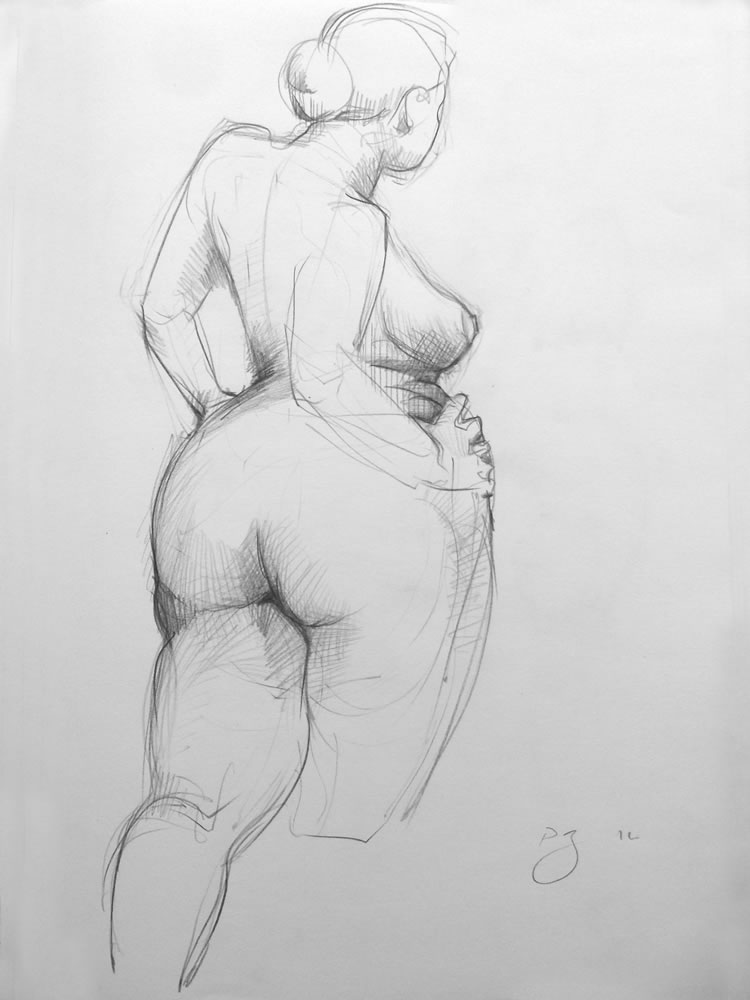Paul Bacon Pencil on Paper Drawings 11-007 female nude hands on hips