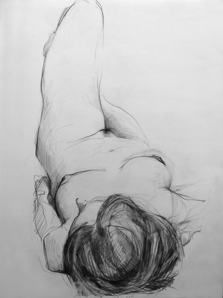 Paul Bacon Pencil on Paper Drawing 11-010 female nude reclining