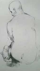 Paul Bacon Pencil on Paper Drawings 2015 Male Back Turned